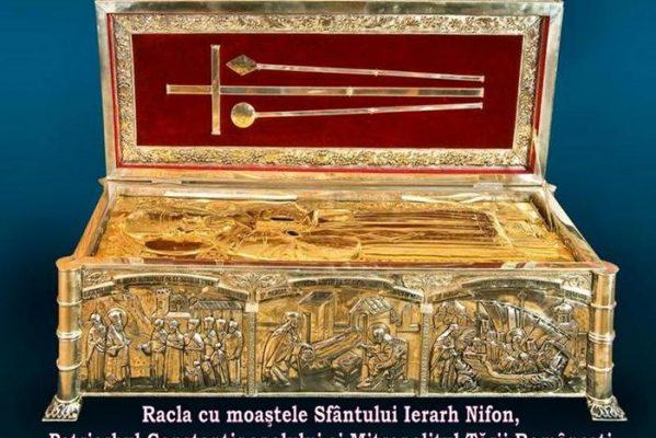 TÂRGOVIŞTE: MARŢI, 14 APRILIE – RACLA CU MOAŞTELE SFÂNTULUI IERARH NIFON VA FI SCOASĂ ÎN PROCESIUNE